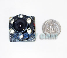 click to enlarge... ECC-300 - Day Night Micro Board Camera w/ Super Strong 850nm Visible 6 LED  - YMC-3232-6S