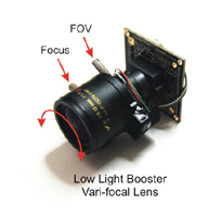 0.00008 Lux  low light board camera w/ Auto Iris Varifocal Lens --- click to enlarge ---