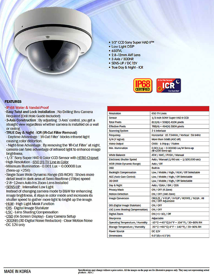 Starlight Extreme Low Lux Outdoor Vandalproof Dome Camera